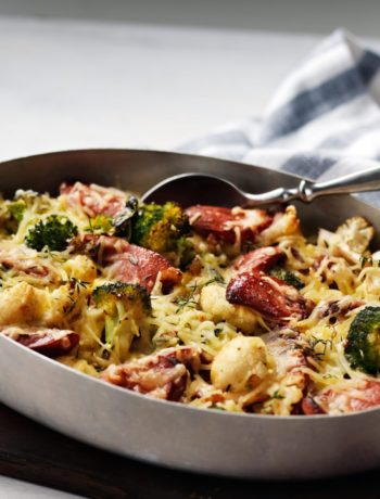 Keto Broccoli and Cauliflower Gratin with Sausage