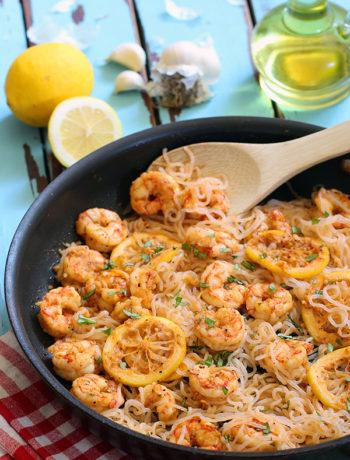 Low Carb Lemon Garlic Shrimp Pasta