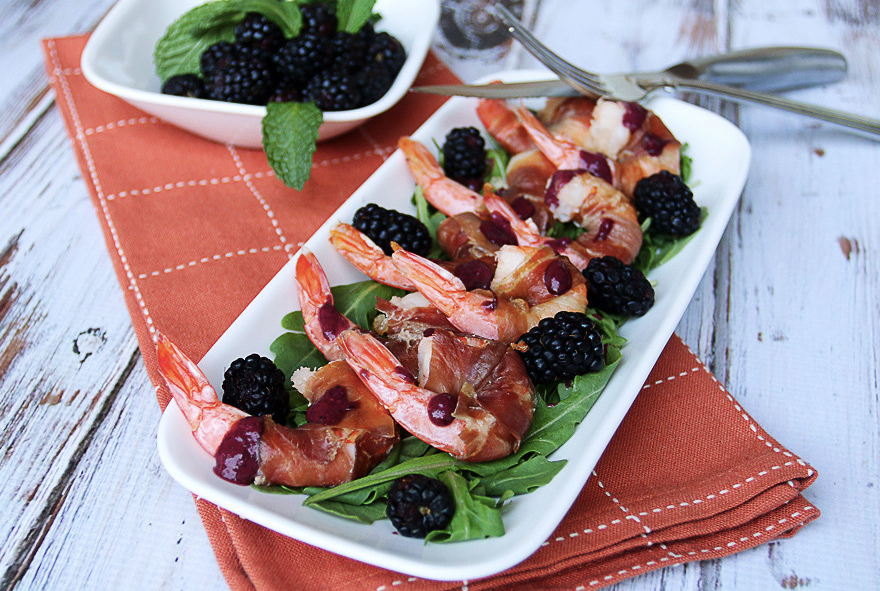 Blackberry Prosciutto Wrapped Shrimp