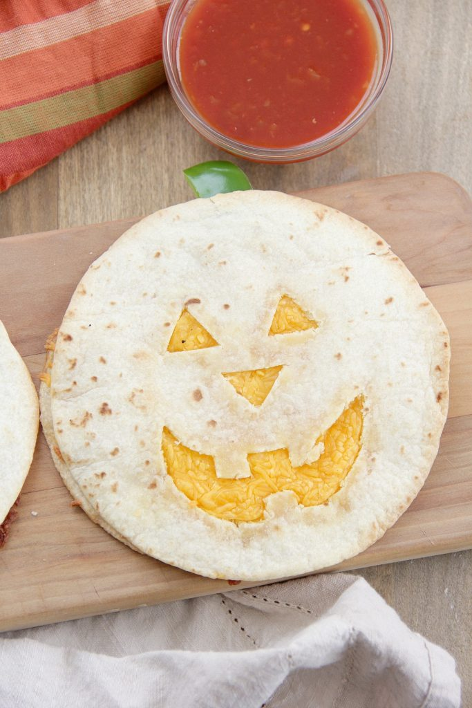 Low Carb Jack-O'-Lantern Quesadillas