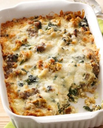 Low Carb Spinach, Cheese and Sausage Casserole