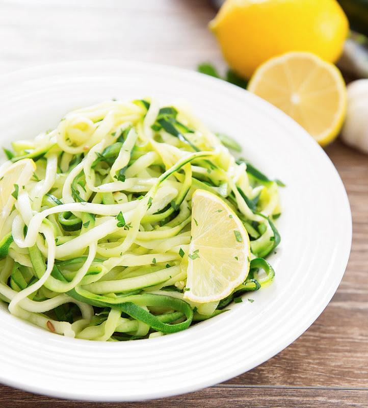 Keto Lemon Garlic Parmesan Zucchini Noodles