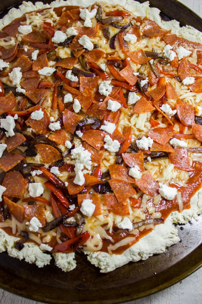 Gluten Free Carmelized Vegetables & Goat Cheese Pizza