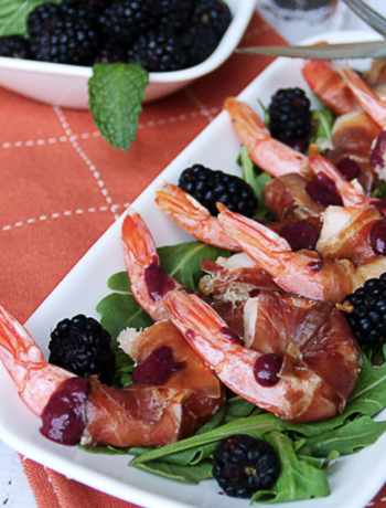 Blackberry Prosciutto Wrapped Shrimp