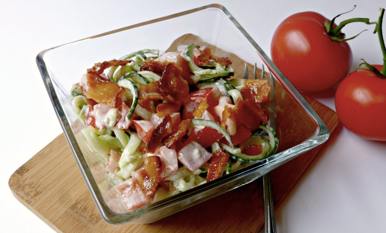 Bacon Tomato Cucumber Salad | Keto