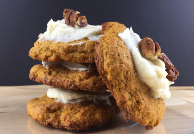 Low Carb Pumpkin Cookies with Vanilla Cream Cheese Frosting