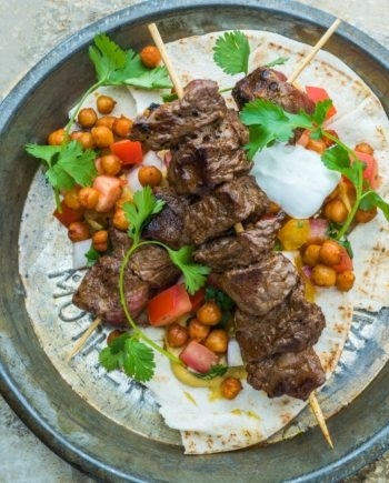 Low Carb Beef Kebabs with Hummus