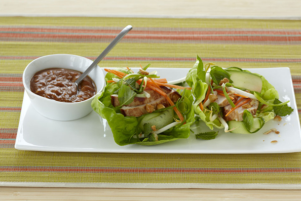 Low Carb Chicken Lettuce Wraps with Spicy Peanut Sauce