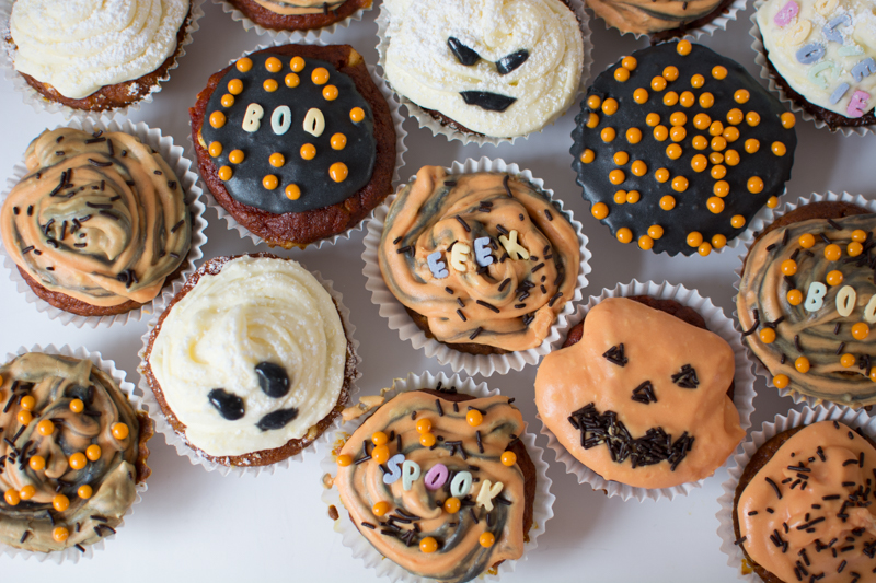 Low Carb Spooky Chocolate Chip Cupcakes