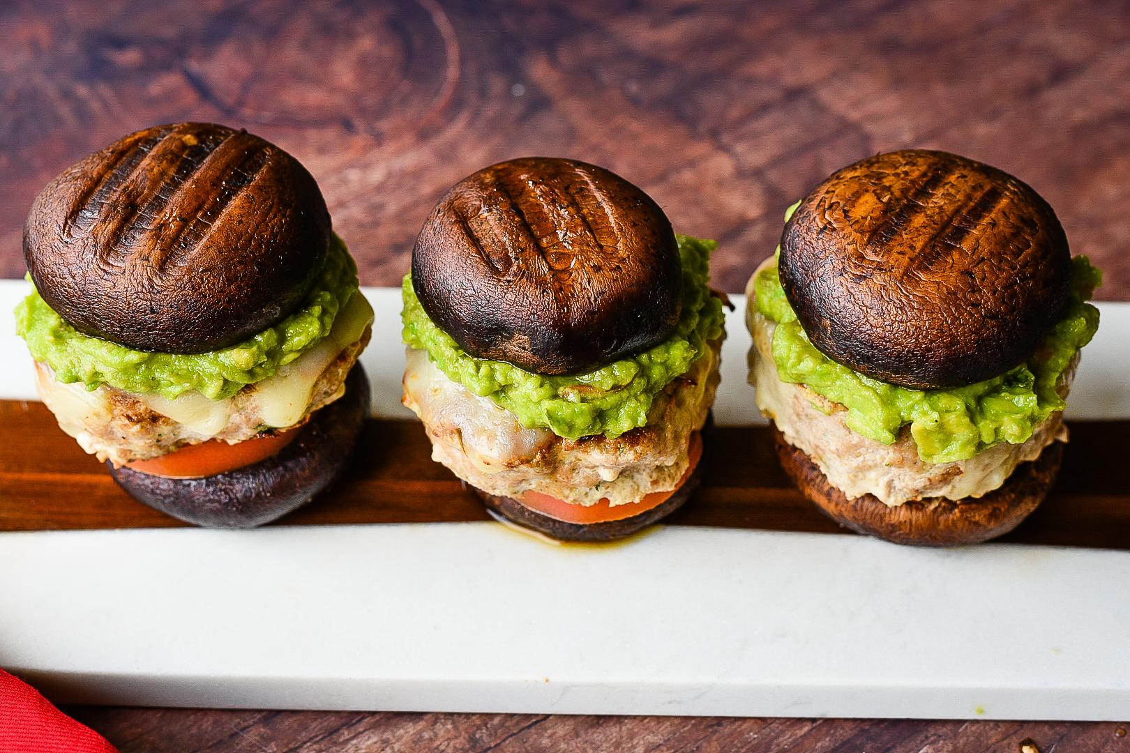 Low Carb Portobello Turkey Burgers